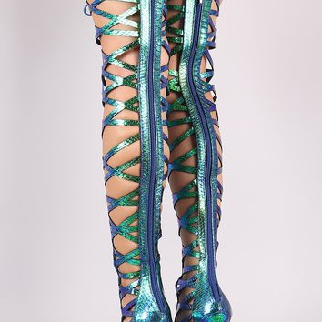 Holographic Snakeskin Strappy Open Toe Lace-Up Gladiator Heel