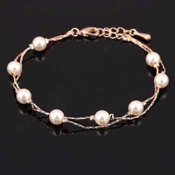 Silver/Rose Gold Fashion Pearl Beads Charm Chain Bracelet