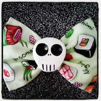 Large sushi print skull fabric bow