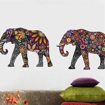 Elephant Flower pattern Wall Sticker Removable Decal Home Decor Wallpaper