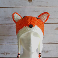 Crochet Wolf Hat-Crochet Fox Hat-Crochet Animal Hat- Crochet Fun Hat-Crochet Winter Hat-Crochet Earflap Hat. Available in different sizes