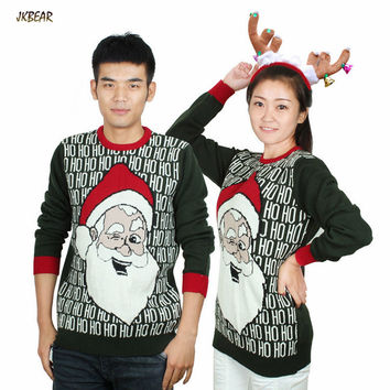 Matching Ugly Christmas Sweaters for Couples Funny Santa Claus Laughing HO HO HO Pattern Pullovers S-XL
