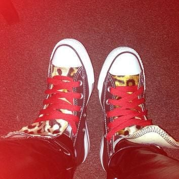 Custom Converse Leopard Print with Red Laces