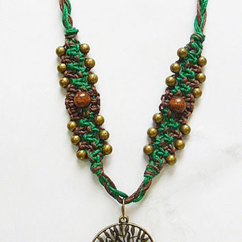Celtic Inspired Tree of Life  Hemp Necklace    hippie   handmade macrame jewelry
