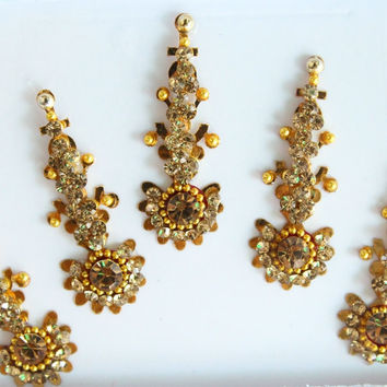 5 Gold Antique Long Bindis,Bridal Long Bindis Sticker,Stone Bindi,Gold Bindis Face Jewels Bindis ,Antique Bindis,Body Art Glittery Bindi