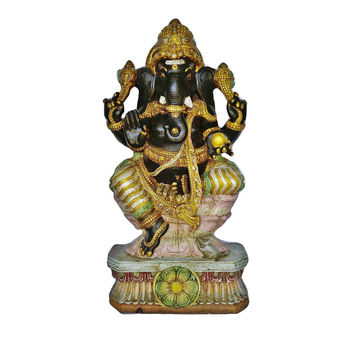 Hindu God Ganesha Hand Painted Wooden Big Statue