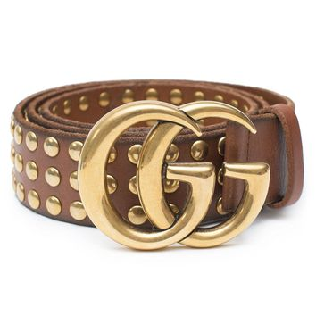 Gucci Belt Marmont GG Studded Brown Leather Gold Size 90 cm Italy Only 1 New