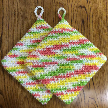 Set of 2 hand crochet cotton pot holders, hot pads, double thick , yellow, green, orange, off white, handmade, Mother's Day gift,party  gift