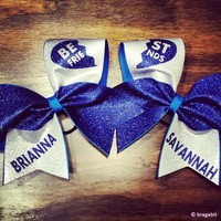 royal blue glitter and silver fabric best friends cheer bows