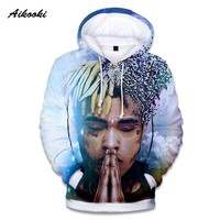 Aikooki XXXTentacion 3D Hoodies Men/Women Casual Pullover Streetwear Hoodies Sweatshirt Male Hooded Crewneck With Hat Men Clothe