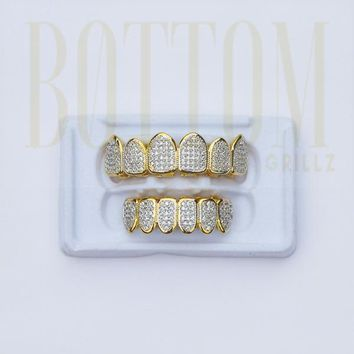 Diamond Grillz For Cheap  (14k Gold Plated CZ)