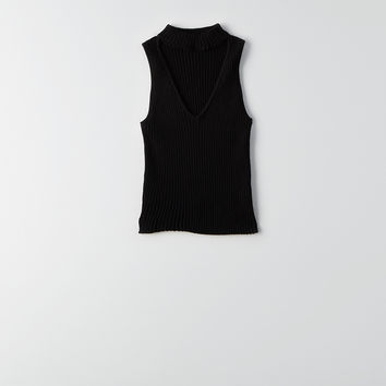 Don't Ask Why Choker Sweater Tank, Black