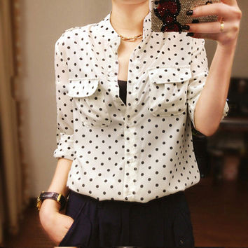 Women's White Blouse Long Sleeve Casual Shirt Polka Dot Print Shirt Plus Size Tops Blusas Femininas SM6