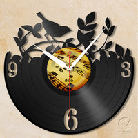 vinyl wall clock - garden bird