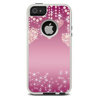 The Pink Sparkly Chandelier Hearts Skin For The iPhone 5-5s Otterbox Commuter Case