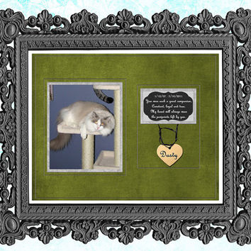 Pet Memorial Print - Pet Remembrance Gift - Cat Memorial - Dog Memorial - Personalized Pet In Memory Art Print - Green - Blue - Black