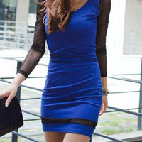 Blue Long Sleeve Mesh Panel Bodycon Dress