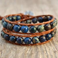 Blue beaded bracelet. Chunky leather wrap. Rustic regalite bead bracelet