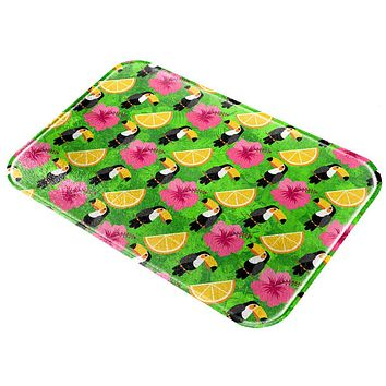 Tropical Vacation Tucan Pattern All Over Glass Cutting Board