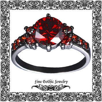Edgy Double Accented Millgrain & Pave in 2 Ct Garnet Red cubic zirconia Black Gold Filled Ring Size 6-10 #111