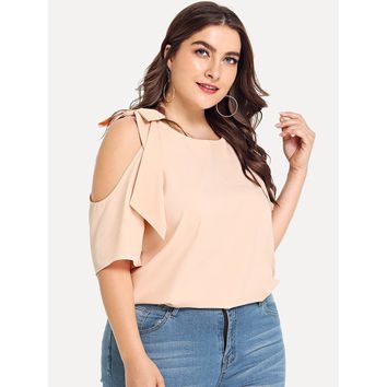 Plus Knot Shoulder Cut Out Blouse