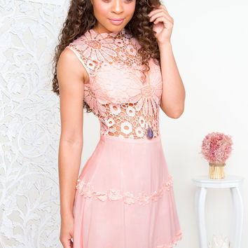 Lena Flower Lace Dress - Blush