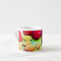 Raspberries and Almonds Watercolor Espresso Cup