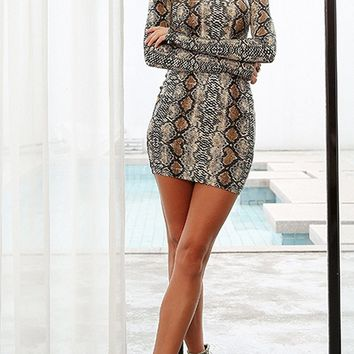 Ready For Seduction Snake Print Animal Pattern Long Sleeve Mock Neck Bodycon Mini Dress - 2 Colors Available
