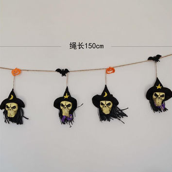 1pcs halloween party decoration Skull shape Garland bunting banner halloween favor