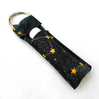 Night of Constellations Chapstick Keychain - Black Yellow Stars Night Sky Glitter Constellation Lip Balm Holder Cozy