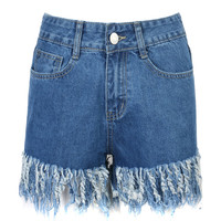 Dark Blue High Waist Tassel Denim Shorts