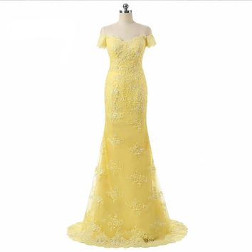 Yellow Lace Off The Shoulder Evening Dresses Formal Mermaid Evening Dress
