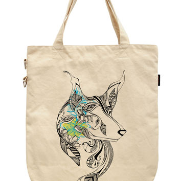 Women Dog Life Printed Canvas Tote Shoulder Bags WAS_39