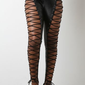 Vegan Leather High Rise Lace-Up Pants