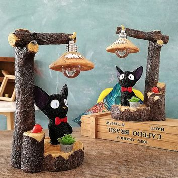 Resin Pastoral Rural Style Animal Kiki Cat Light Figurine Kawaii Ornament