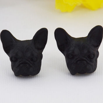 Fashion Hippie Chic Vintage French Bulldog Stud Earrings