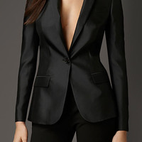 Slim Fit Silk Blend Jacket