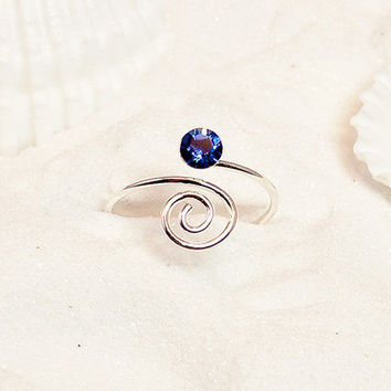 Sterling Silver Sapphire Wire Swirl Toe Ring, Silver Toe Ring, Silver Wire Toe Ring, Sapphire Colored Ring, September Ring, Midi Ring