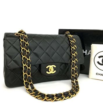 CHANEL Double Flap 23 Quilted CC Logo Lambskin w/Chain Shoulder Bag Black/k163