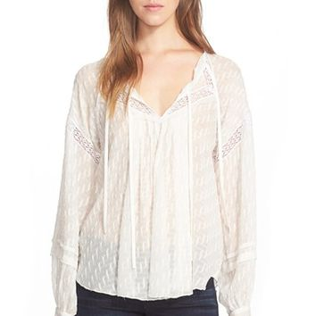 Women's Rebecca Taylor Coupe Silk Blend Peasant Top,