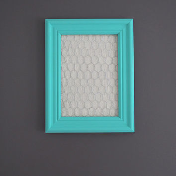 Aqua Framed Chicken Wire Organizer / Memo Board / Jewelry Hanger / Cream Mediterranean tile