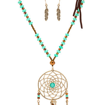 Joya Dreamcatcher Necklace Set - Turquoise