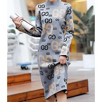 GUCCI Autumn Winter New Trending Women Stylish GG Letter Long Sleeve Knit Dress Grey