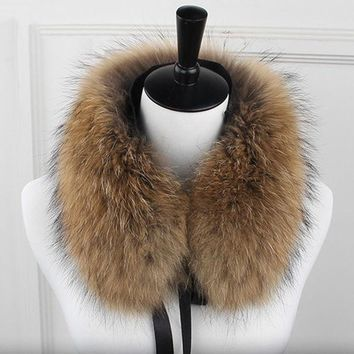 Long Real Raccoon Fur Women Collar 4 Colors Solid Soft Warm Autumn Winter Ladies Scarf Shawls Collares
