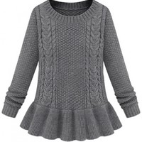 Plaid Flounced Slim Cable Sweater - OASAP.com