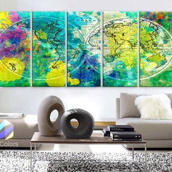 "XLARGE 30""x 70"" 5 Panels 30""x14"" Ea Art Canvas Print World Map Watercolor green yellow Old Vintage Wall Decor Home Office (framed 1.5"" Depth)"