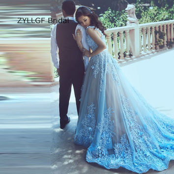 ZYLLGF Bridal Middle East Blue Princess Prom Dresses Sweep Train Arabia Lady Evening Gowns With Flowers From China SA61