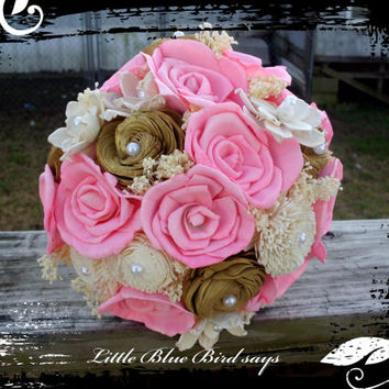 Rustic bridal bouquet pink and gold sola bridal bouquet wedding bouquet rustic bouquet sola flower bouquet