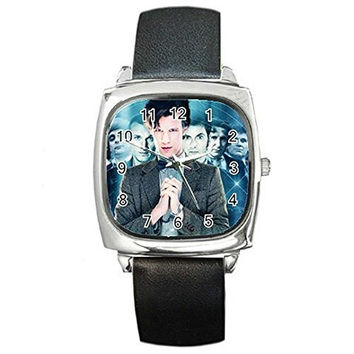 "Dr Who "" Matt Smith "" and other Doctors on a Silver Square Watch with Leather..."