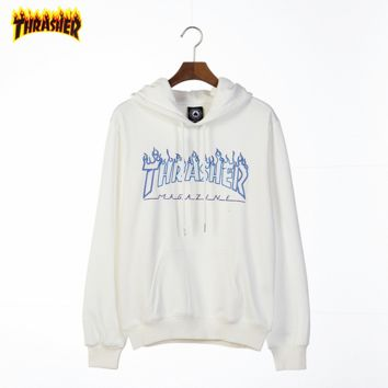 THRASHER Tide brand classic multi-color flame printing letters couple models hooded sweater white